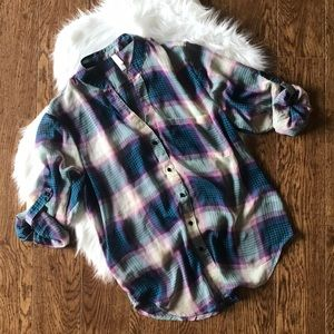 Women's xhilaration sheer plaid button-down blouse